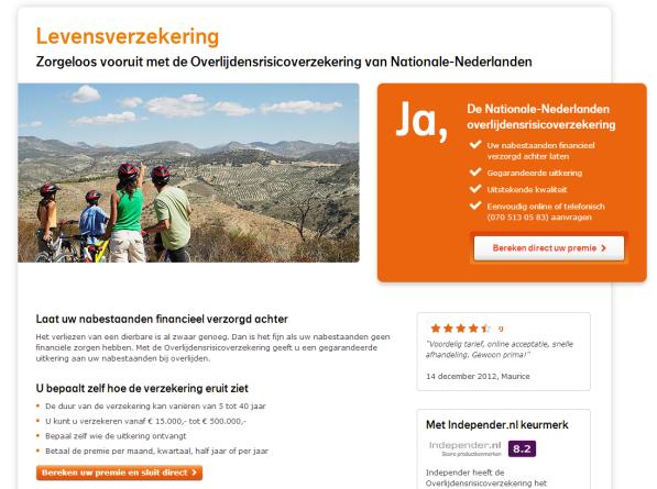 landingspagina - Levensverzekering Nationale-Nederlanden