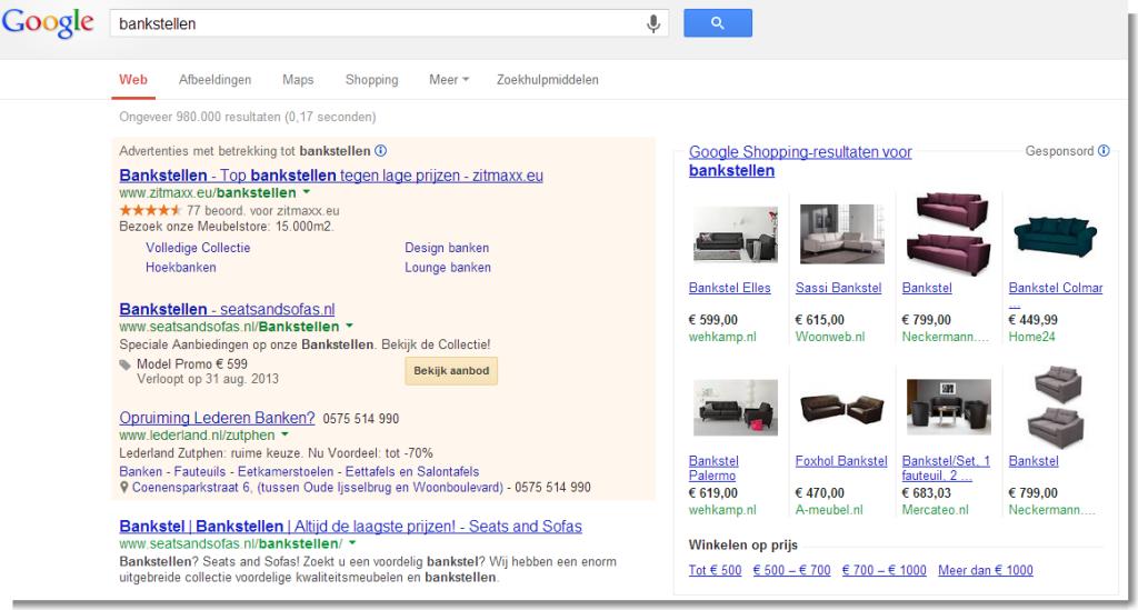 Aanbiedingsextensie bankstellen - Google zoeken