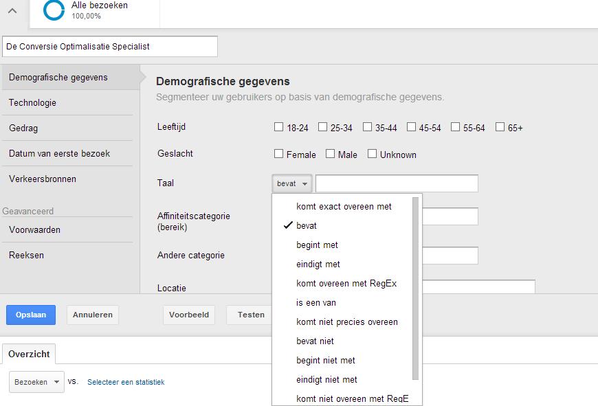 Google Analytics - geavanceerde segmentatie